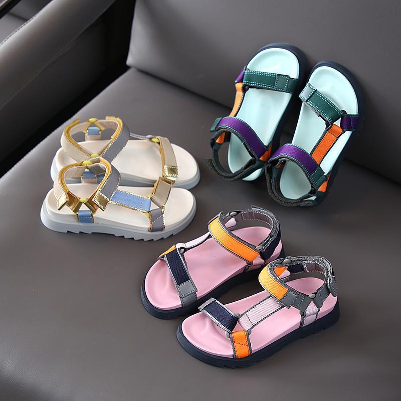 Çocuklar Flats Sandalet Yaz Rahat Ayakkabılar Tatlı Yumuşak Çocuk Plaj Sandalet Kızlar Prenses Plaj Ayakkabı Toe Açık SX486