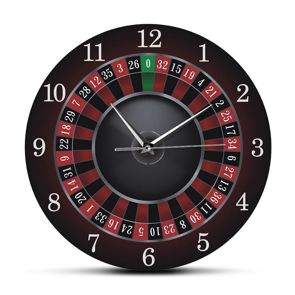 Poker Roulette orologio da parete con Black Metal Telaio Las Vegas Game Room Wall Art Decor Orologio della vigilanza di orologio di gioco del casino regalo