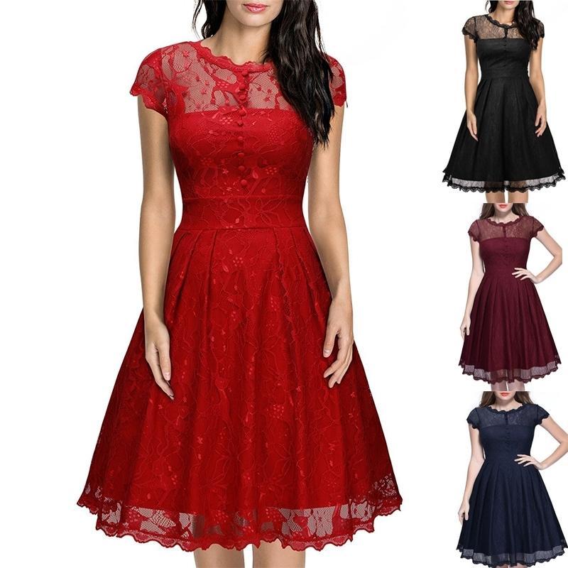 Missjoy vestido de festa elbise düğmesi backless kadınlar vintage rockabilly salıncak zarif nedime A-line parti beyaz dantel elbise Y0118