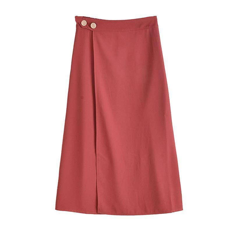 GTGYFF queda saia de cintura alta eastic para as mulheres midi uma linha mulheres sólidos saias pretas cinza laranja rosa roupas de fenda das mulheres verdes