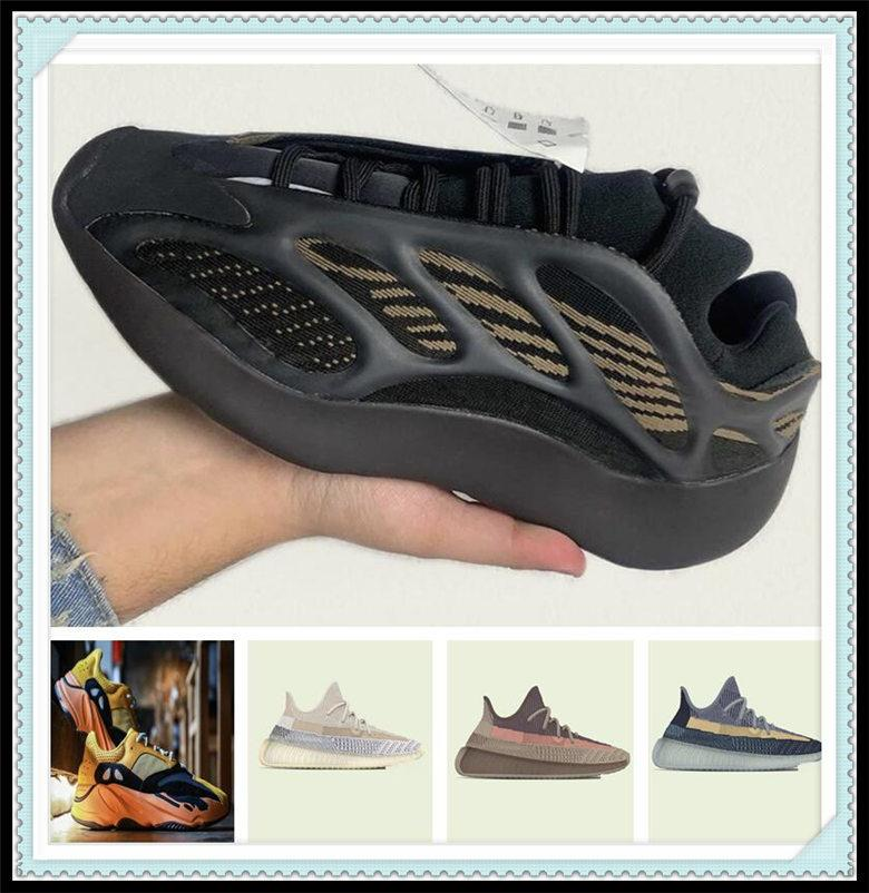 Chaussures de sport pour femmes 2021 Kanye West Sun Yecoraite Officiel officiel Nouvelle lumière Reflective Casual Sport Sneakers Sneakers Grass Vert Chaussure Taille 36-48