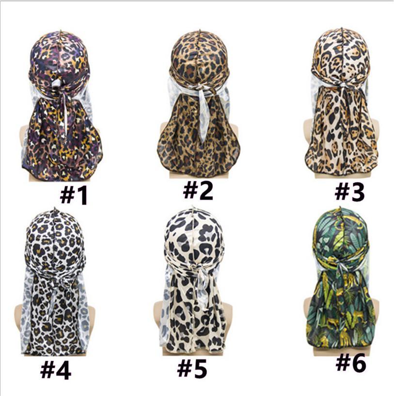 Männer Frauen Mode Leopard Gedruckt Imitierte Seidengewebe Lange Schwanz Haube Hut Hip-Hop Pirates Hut Head Cover Wrap Mützen Schädel Hut E122811