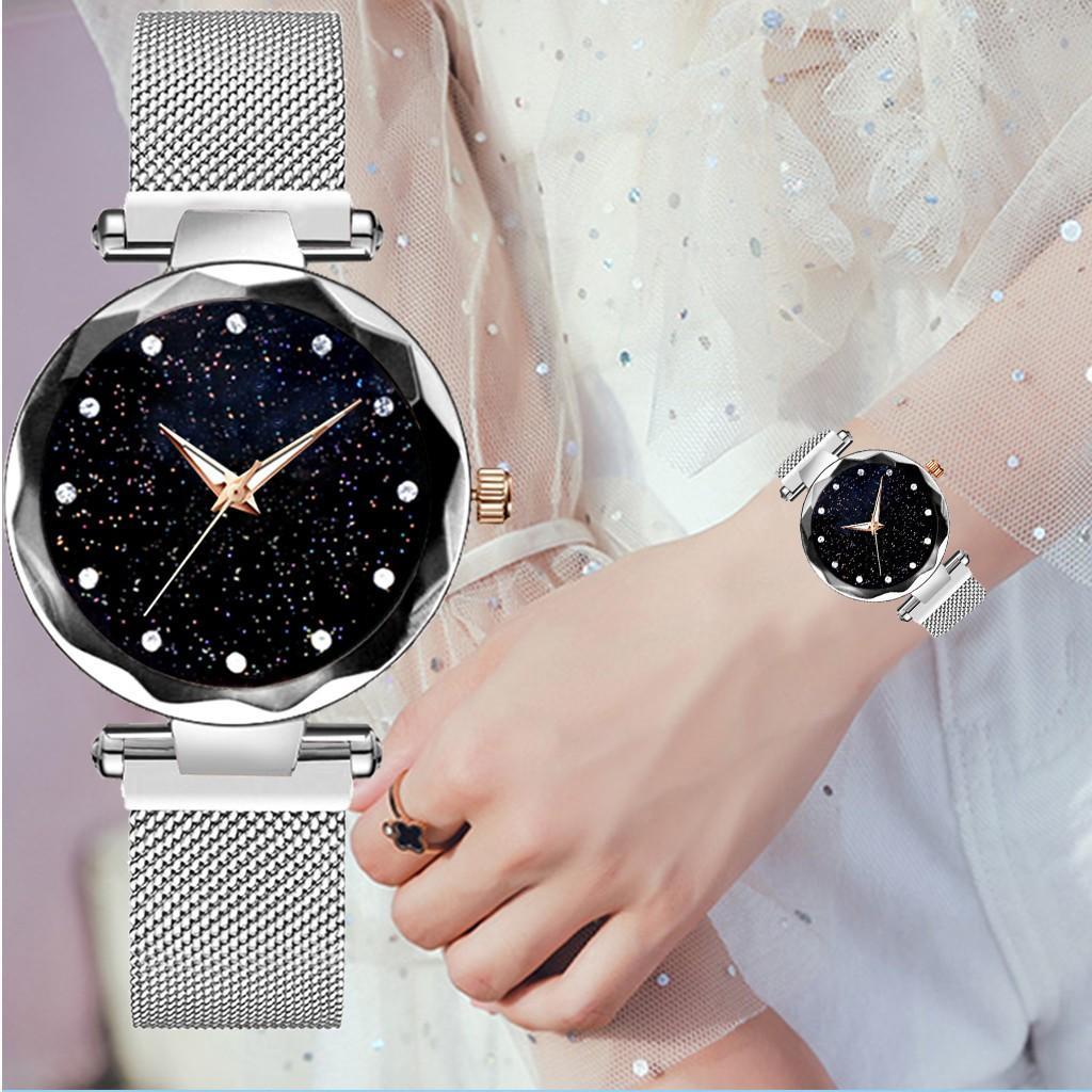 Womens Watch Luxe Sky Bande magnétique Mâle Mâle Quartz Hommes Montres Montre-Bracelet Diamant Diamond Girly Horlogerie Garde-bracelet