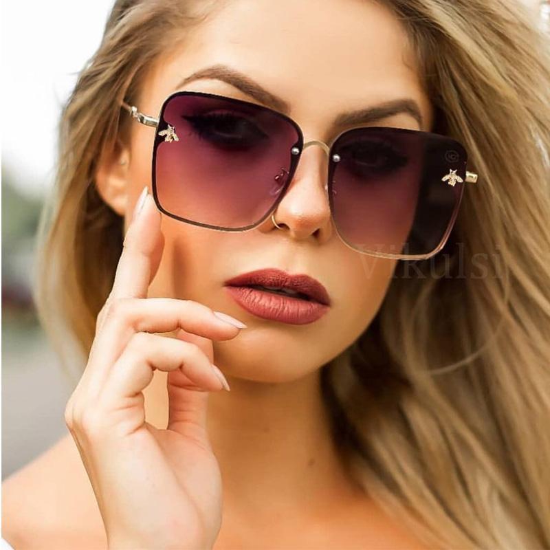 Женские солнцезащитные очки квадратные негабаритные моды плоский градиент объектив UV400 сплав без огранки бренда женский UV400 солнце
