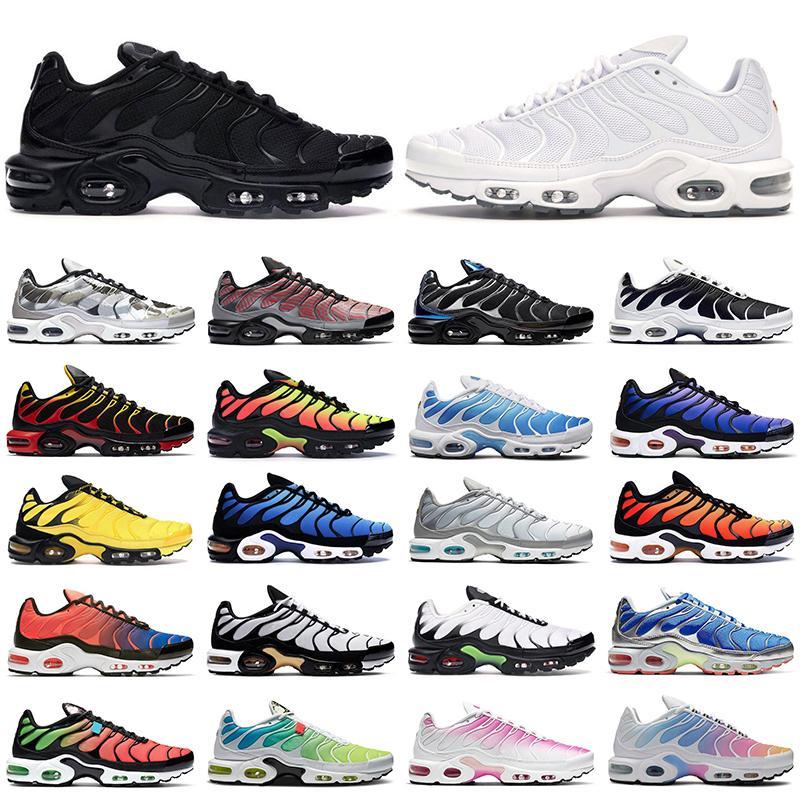 2020 TN زائد رجل المرأة تشغيل أحذية المدربين الثلاثي أسود أبيض فرط الأزرق أوريو كريتو الدخان رمادي بيمنتو الرجال في الرياضة أحذية رياضية