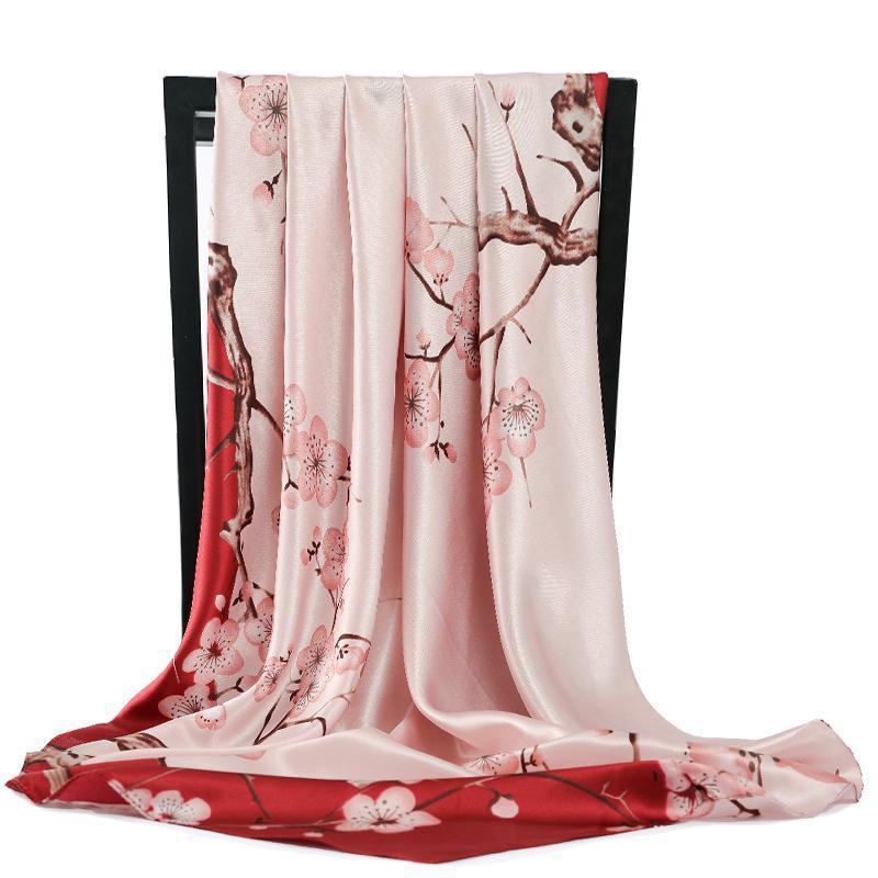 2021 Cabeza de verano Bufanda de seda Mujeres elegante Impresión grande Bufandas cuadradas grandes Seda Bufanda 90 * 90 cm Muslim Hijab Bohemian Mantón
