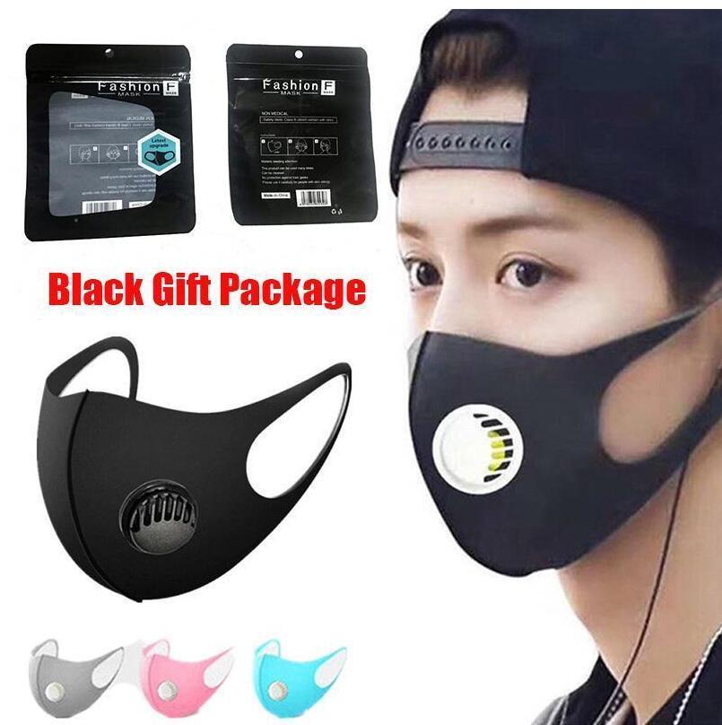 Masque de concepteur lavable en soie à glace à la bouche avec soupape PM2.5 anti-poussière anti-poussière anti-bactérien anti-bactérien Masques de visage réutilisables pour enfant adulte