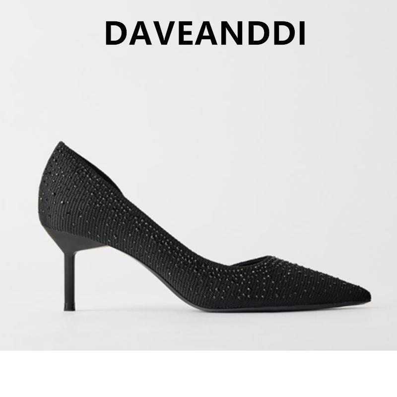 Mulher saltos DaveDi sapatos de verão sapatos de mulheres inglaterra escritório senhora elegante artificial diamante estilete de salto alto