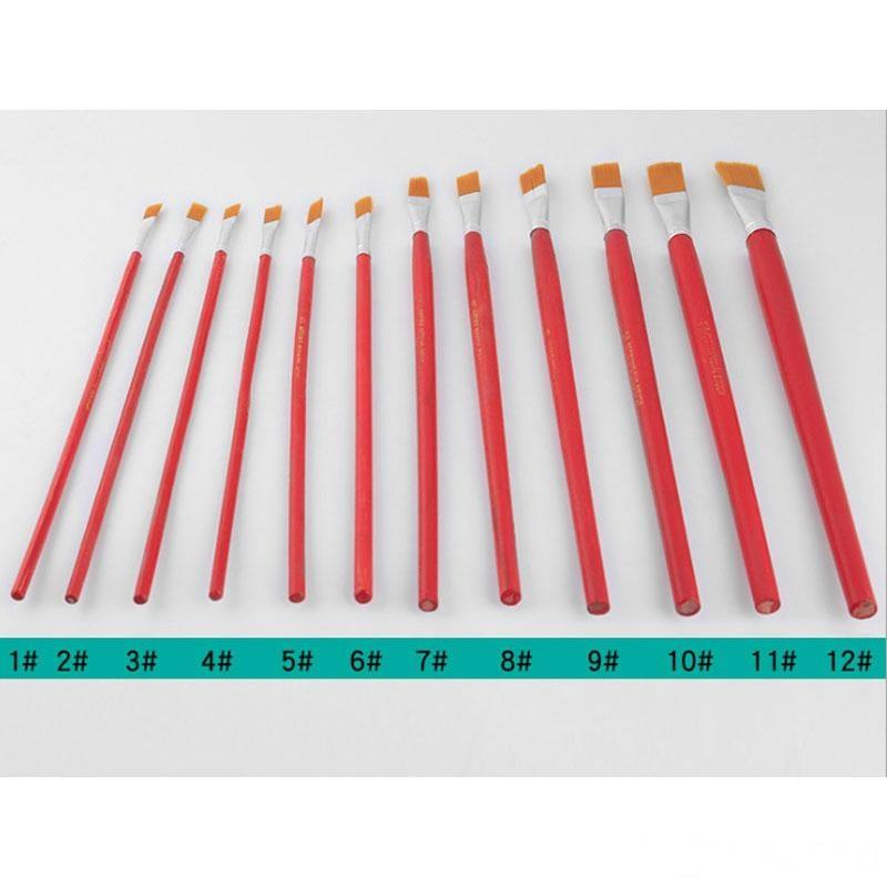 12pcs Nylon Hair Wooden Handle Different Size Watercolor Acrylic Oil Paint Brush Set For Drawing Painting Art Supplies