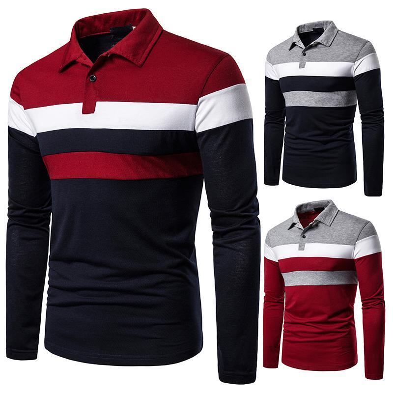 Мужские футболки осенью мужчины с длинным рукавом футболка три цвета шить вершины соответствующие уличные повседневные моды