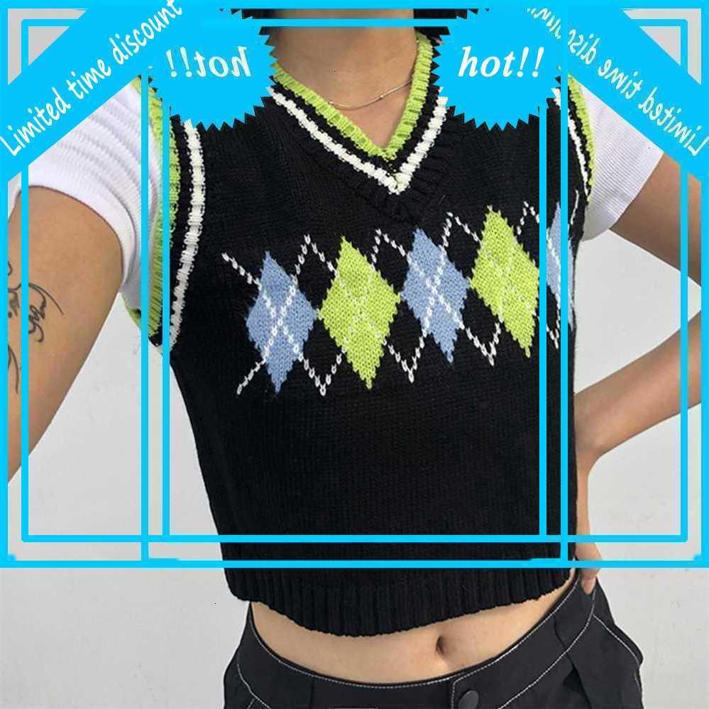 Argyle Plate Используется Trui Женщины Preppy Style Y2K Streep V-образным вырезом Приложения вязаные 90S Esthetic Vest Streetwear