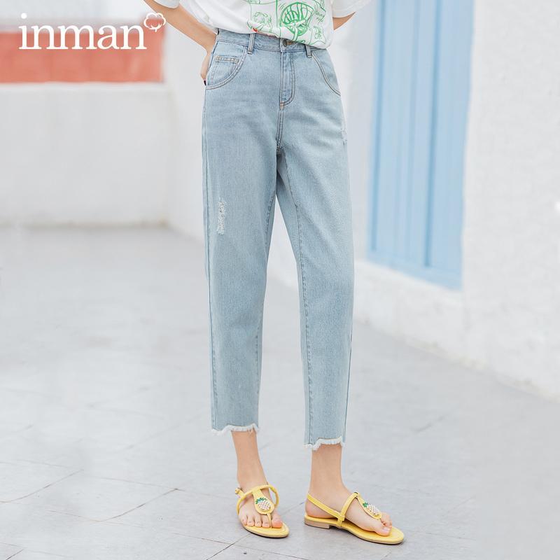 INMAN 2020 Yaz Yeni Geliş Saf Pamuk Bıyık Giyim Moda Leisure Ayak bileği uzunluğu Kalem Jeans 1020