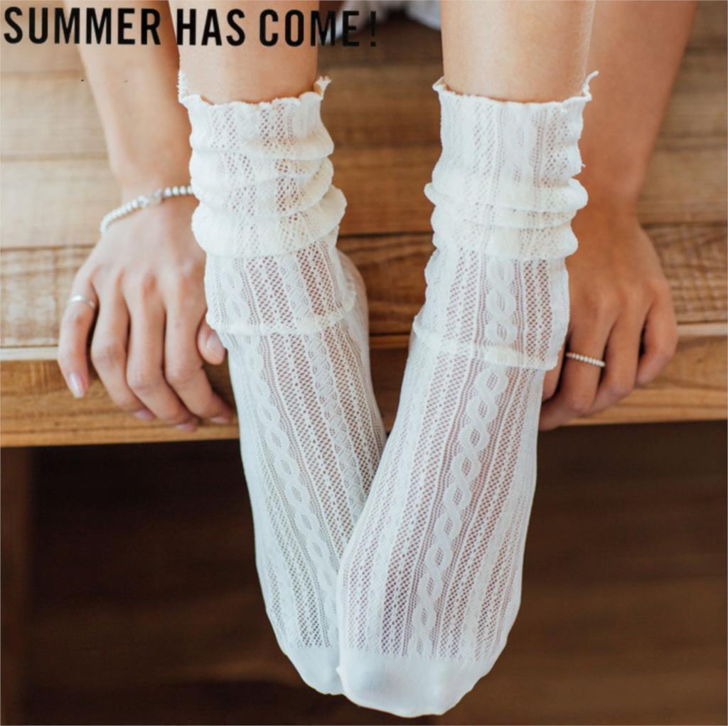 Frau 1 Paar 2019 Frühling Neue Mode Sommer Solide Aushöhlen Weiche Nette Lange Für Frauen Mesh Dünne Socken