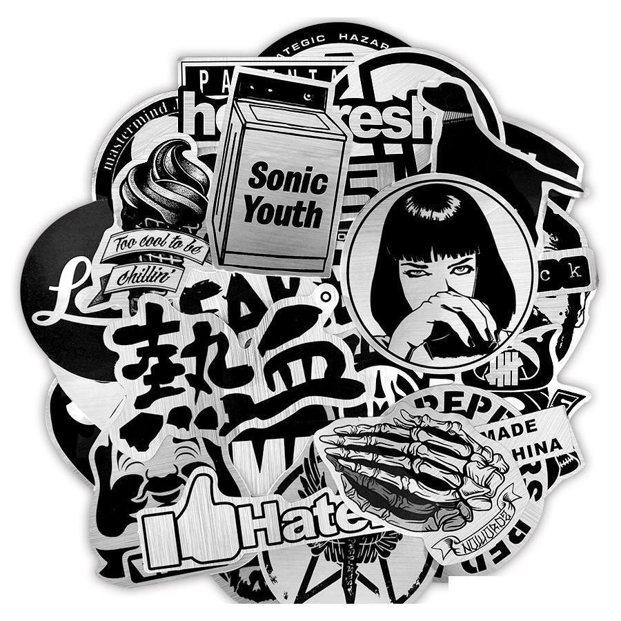 50 pcs imperméables stickers noir et blanc noir jouet pour enfants adultes adultes bricolage ordinateur portable voiture Scrapbook Guita Sqcvay Toys2010