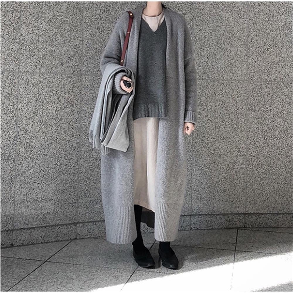 Зимний свитер Женщины кардиган с длинным рукавом девушки топы простые осень новая женщина элегантная трикотажная верхняя одежда свитер теплый плюс размер lj200815