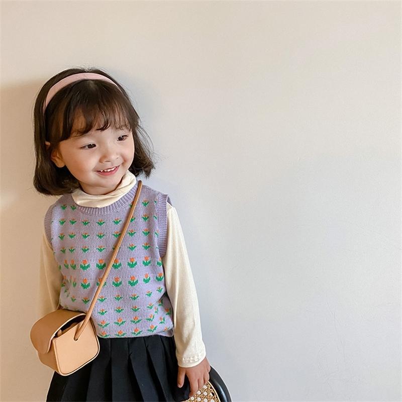 Осень зима девушки трикотажные покрытия пряжи свитер жилет детей милые цветочные жаккардовые тканевые жилеты 201104