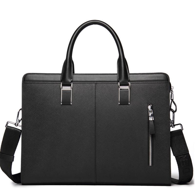 Bolsa de Negócio de Negócio de Caudeiro Homens Denim Genuine Bisonte Bolsa Bolsa Masculino Saco Crossbody Ombro Bag Tablet Mensenger Bags NFVUQ