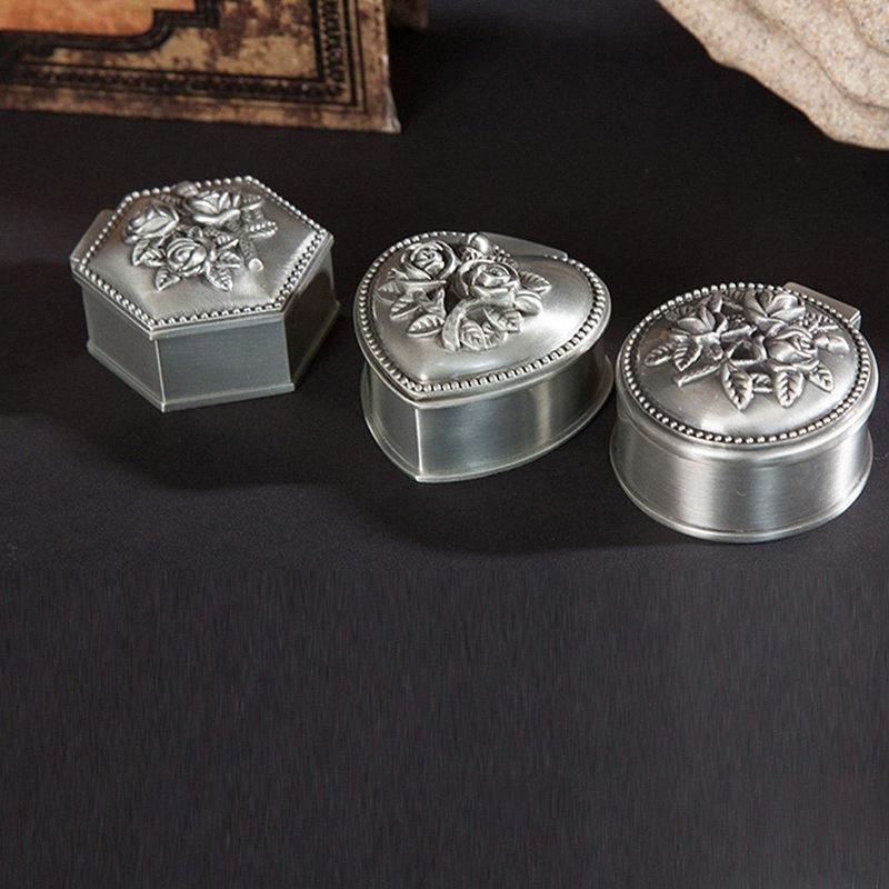 Caso Coração Anel antigo do vintage Forma Jewelry Box Hexagon Rodada pequeno clássico Trinket de armazenamento Organizer Peito Christmas Gift mm6Q #