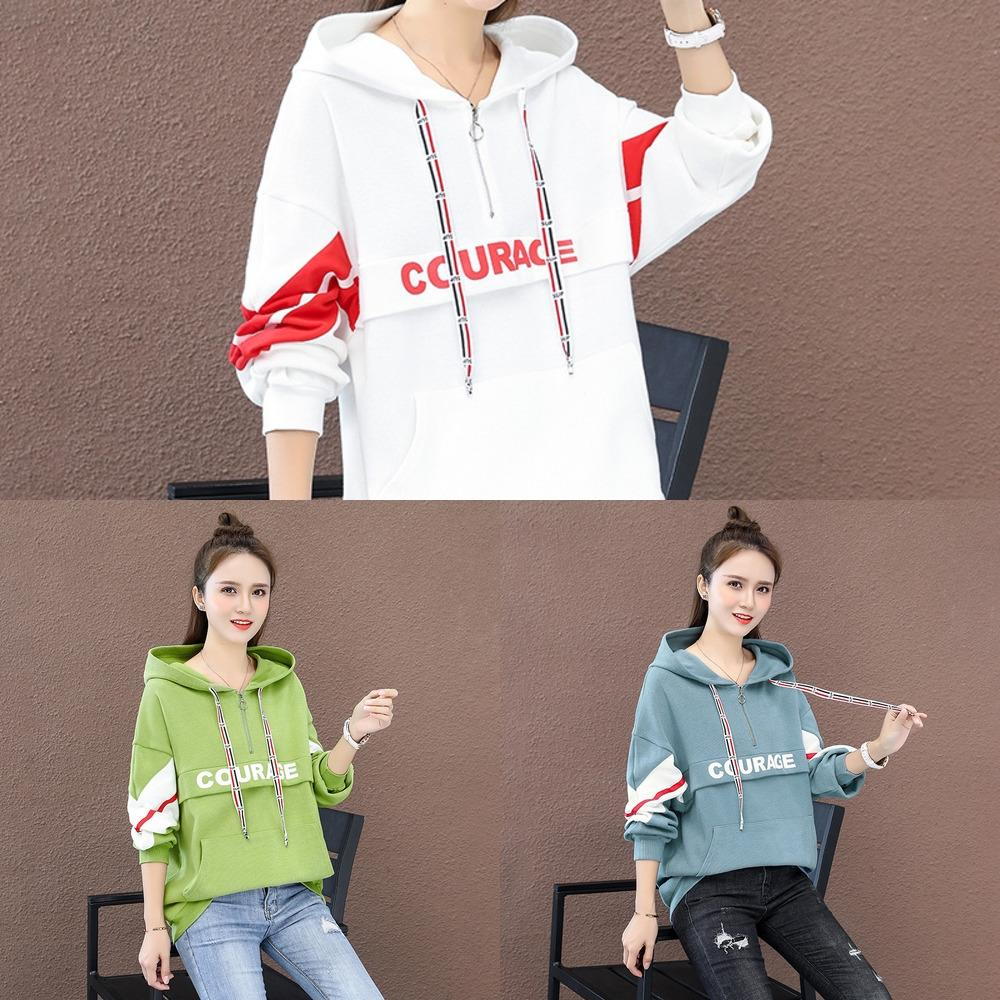 S080462 la primavera e l'abito del cappotto autunno maglione versione coreana delle donne del vestito di stile con cappuccio allentato per il cappotto delle donne Js6d0