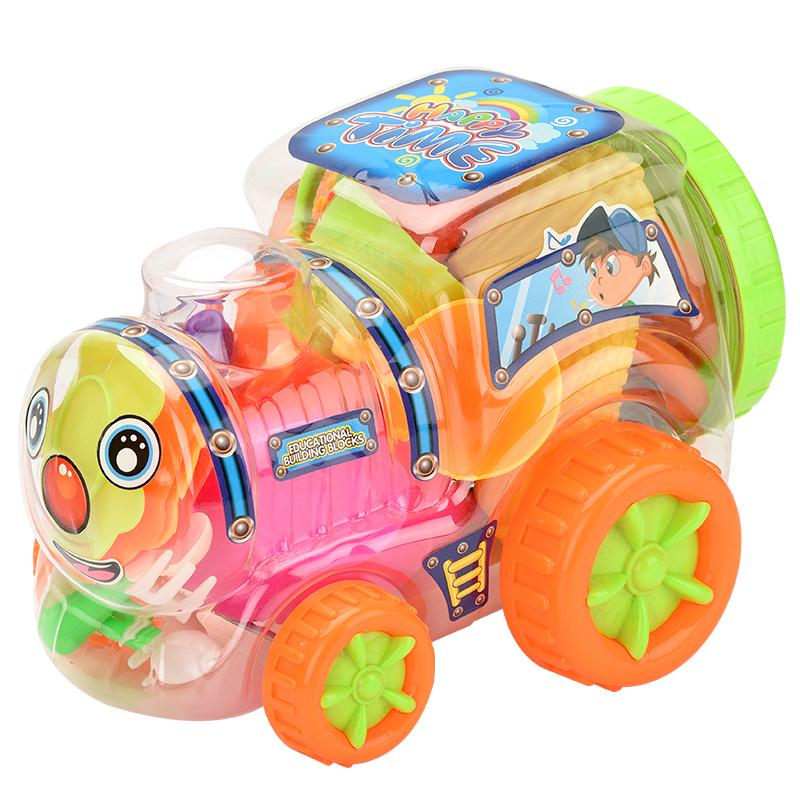 Child fun transparent locomotive series fruit and vegetable set high quality play house toy multiple color