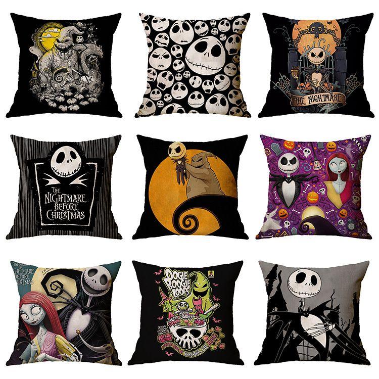 Nightmare Before Christmas Cartoon Skull Jack Printed Cushion Cover Halloween Decorative Sofa Car Throw Pillow Home Decor Pillowcase