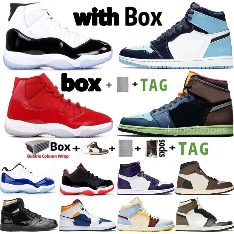 kutu erkekler basketbol ayakkabıları ile 2020 1 kadın ayakkabısı 1s yeşil obsidiyen büküm siyah ayak 11 yetiştirilen 11'ler uyum erkek eğitmen turbo jumpman