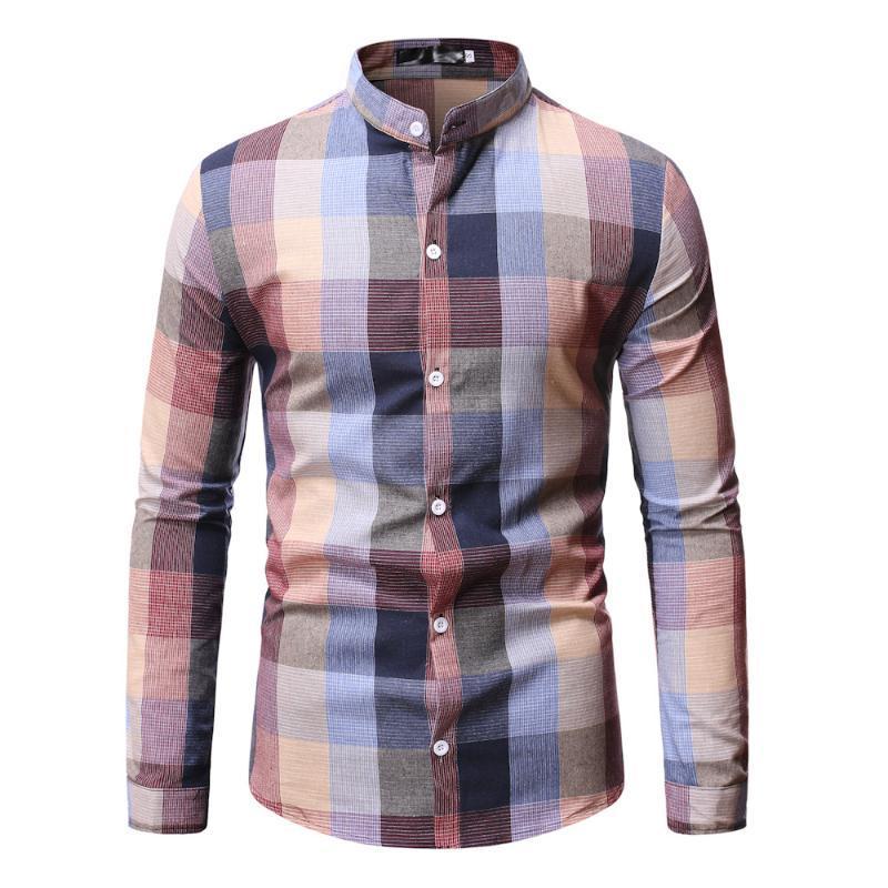 Chemise à carreaux à col montant manches longues manches confortables Chemise pour hommes Streetwear Chemises occasionnelles Robe Chemise Homme