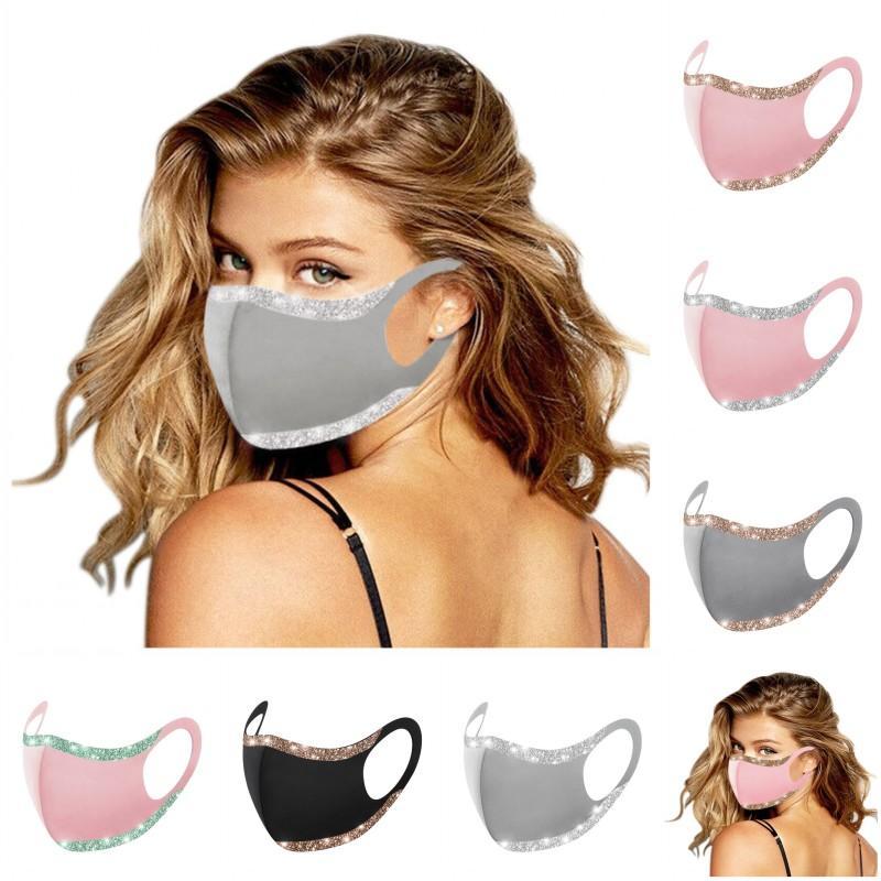 Máscara de moda grátis bling lqq190 mulheres 6 gelo rosto washab bling respirável estilos capa de boca facemasks dhl seda protetora reusável máscaras IQVQ