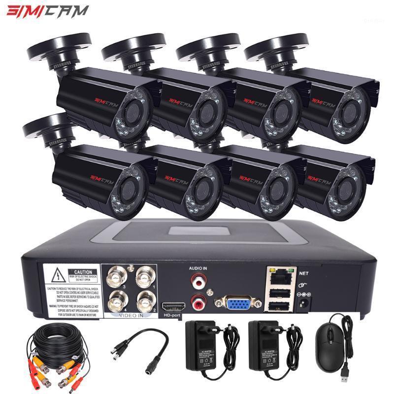 SIMICAM 8CH 4CH 720P / 1080P AHD الأمن كاميرا CCTV نظام DVR كيت CCTV للماء في المنزل HDVideo نظام المراقبة HDD1
