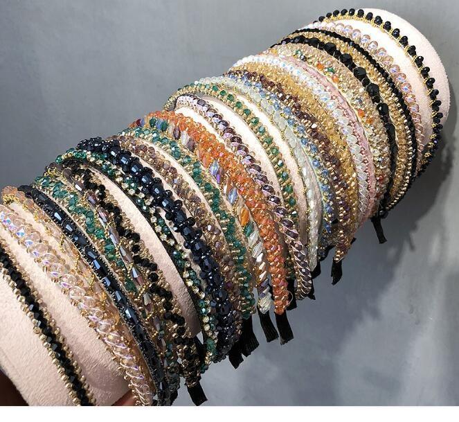 10 قطعة / الوحدة مزيج الألوان نمط كريستال رباطات هيرباند عقال للشعر مجوهرات هدية HJ010