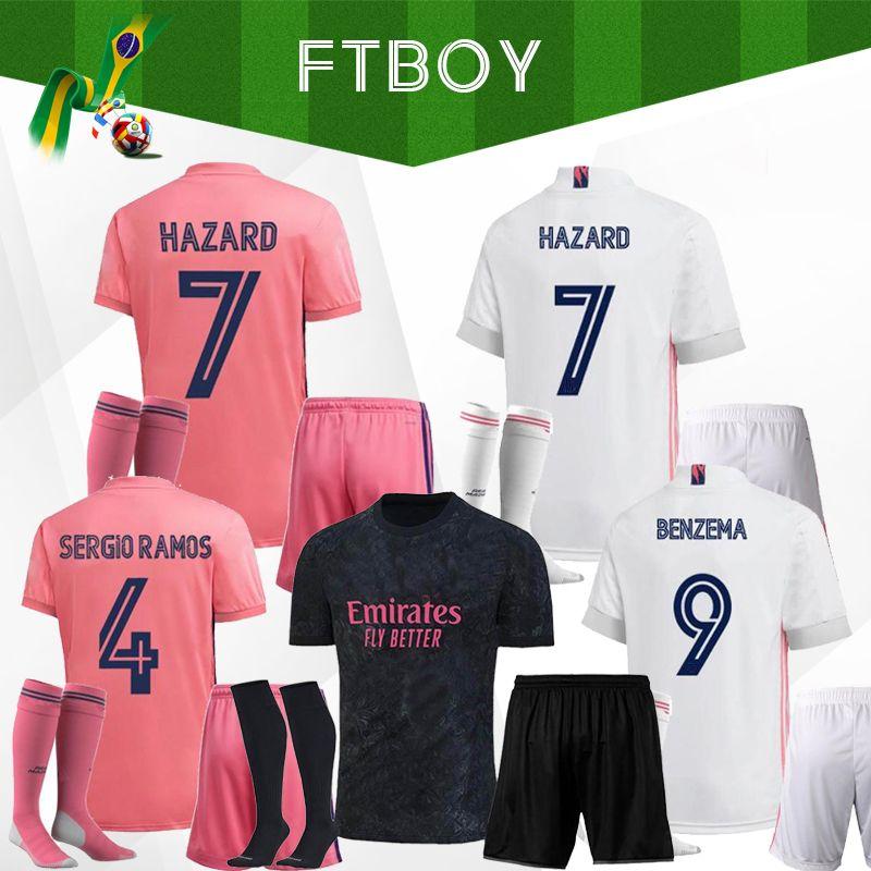 20 21 Real Madrid Futebol Jerseys Casa Curta Home Away Terceiros Kits de Futebol Hazard Zidane Benzema Camisa de Futebol Camiseta de Futbol