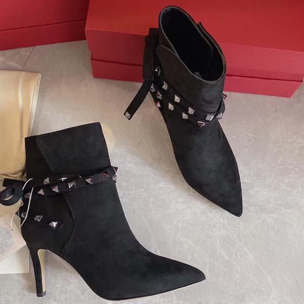 Для женщин на высоких каблуках 80мм замша сапоги зима заклепок заостренный натуральная кожа Насосы Paris Boots Размер 35-41 С коробкой