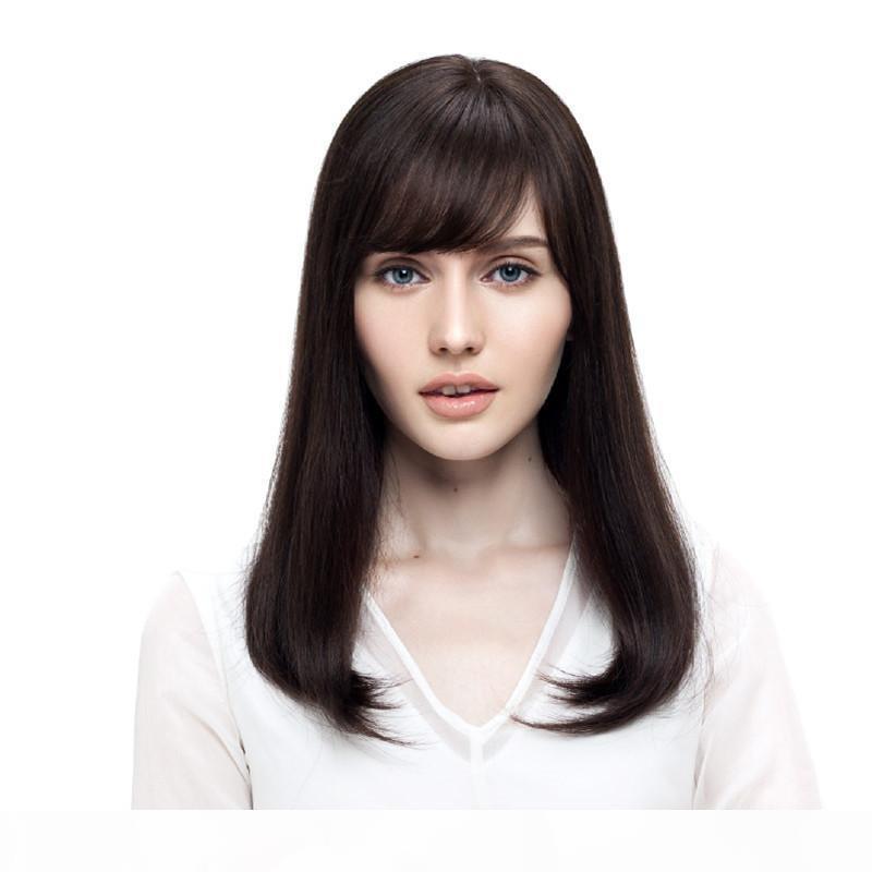 Pelucas llenas del cordón de largo a corto Cabello humano 100% Bob pelucas para mujeres Negro Blanco 150 Densidad Remy brasileños Cabello liso pelo de color natural # 2 pelucas
