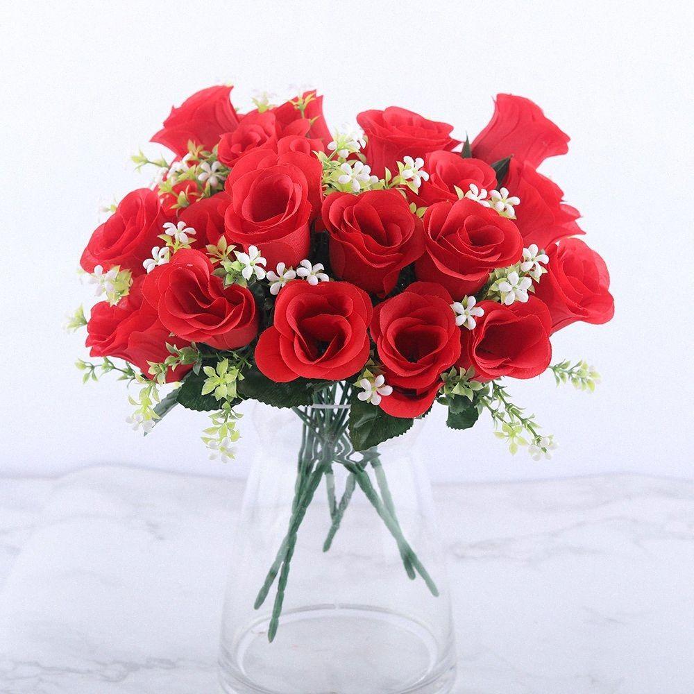 5 Köpfe künstliche Rosen-Bouquet Silk Red Rosa königliche Rosen Gefälschte Blume Günstige Gartendeko Indoor Dekoration für Zuhause-Party-A10034 ZH7H #
