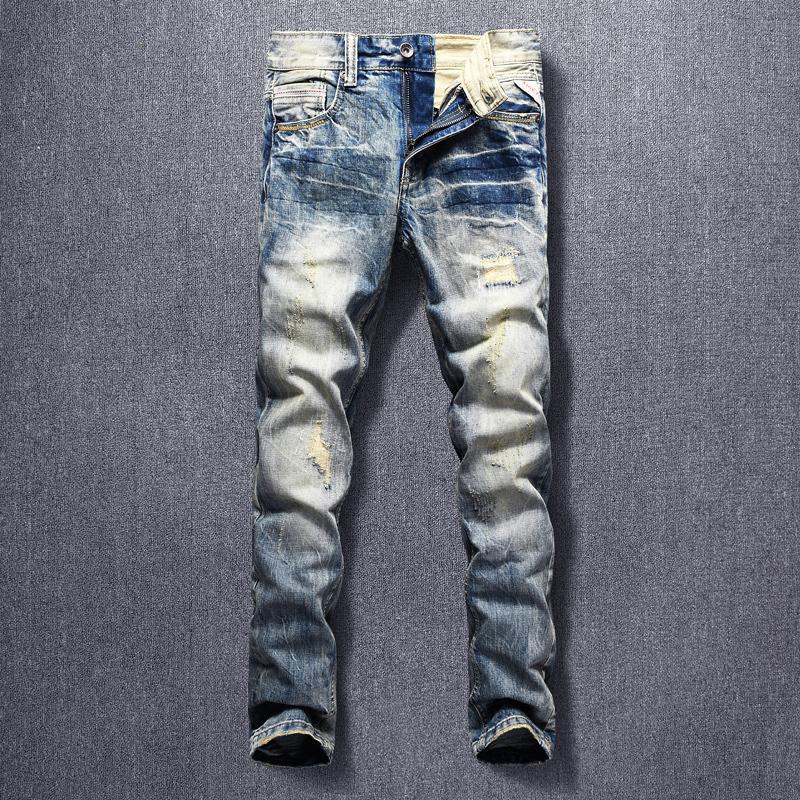 Italian Style Mode Hommes Jeans de haute qualité Slim Fit Denim Ripped Pantalons Retro Wash Patchwork Designer Pantalon Vintage Hip Hop