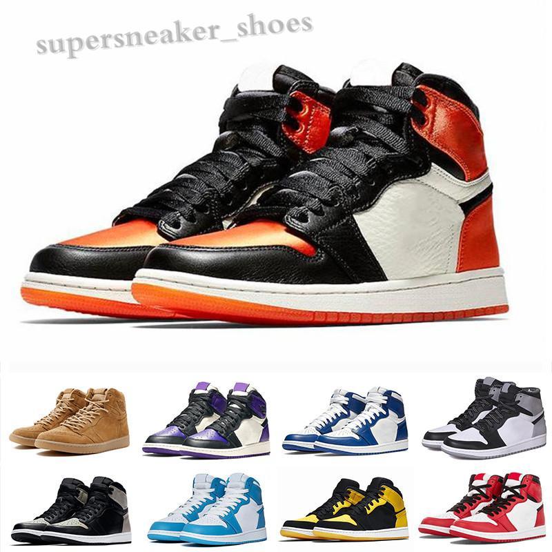 NIKE AIR Jordan 1 RETRO Erkek Basketbol Ayakkabı 1s Travis Scotts En Obsidian UNC Korkusuz PHANTOM TURBO YEŞİL 1 Arkalık PHANTOM GYM KIRMIZI Spor Sneaker RK06