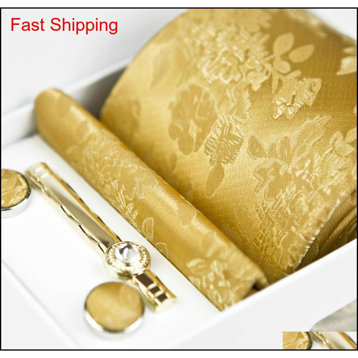 Bağları Dört Parça Setleri Çiçek Paisley Katı Altın Sarı Şampanya Erkek Kravatlar Cep Kare Kravat Klip Kol Düğmeleri Qyltvq HOMES2007