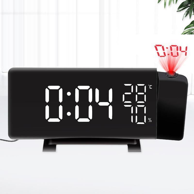 Proyección giratoria Reloj digital LED Temperatura / Higrómetro Radio Radio FM Pantalla de escritorio electrónica Alarma curvada1