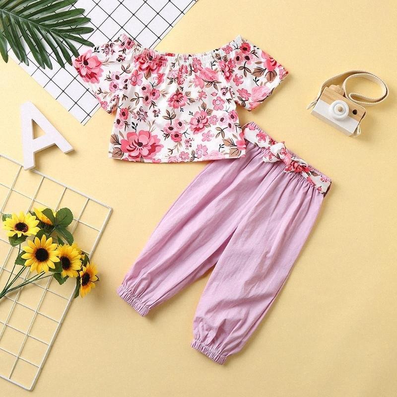 2pcs малышей Детские ребёнки одежда набор лета цветочным принтом Топы + штаны Эпикировка Набор розовый с коротким рукавом + Длинные Pant Эпикировка hOVb #
