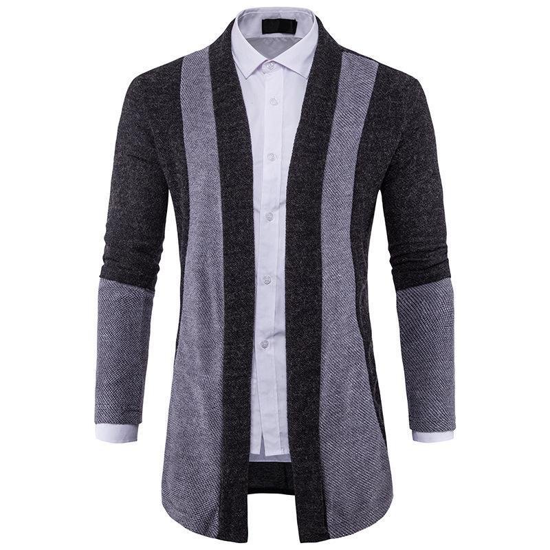 Casual moda caduta maglione cardigan maglia slim patchwork maschio top manica lunga cappotto invernale uomo