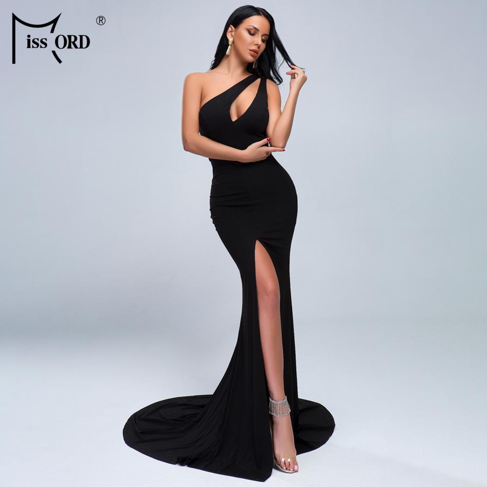 Missord 2020 Sexy One Shoudler Hole Open Too ToChottric Maxi Dress Robe de soirée MS011 T200604