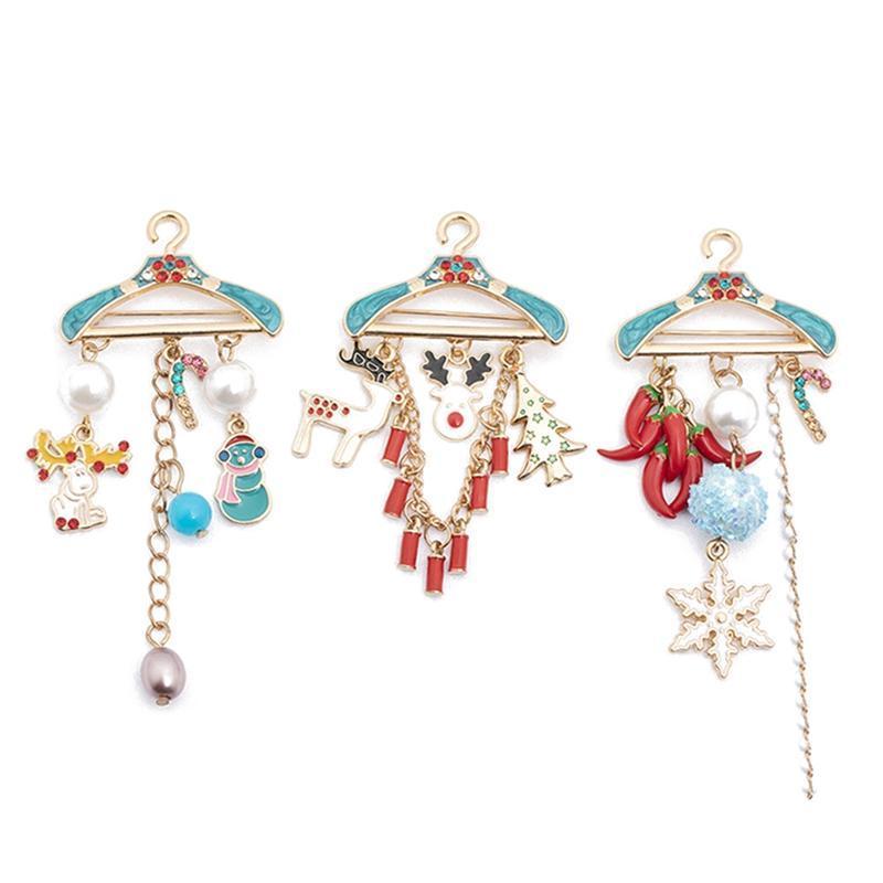 Рождественская вешалка для вешалка для одежды Брошь Лось снеговика Брошь для бензинга для прицела Прекрасный прелестный милый подарок для дам