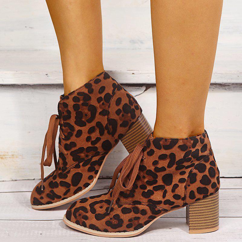 Mulheres Leopard tornozelo Mulher Bota Outono de 2020 da Mulher Lace Up Casual Grosso do salto alto Feminino Shoe Ladies Flock Dropshipping