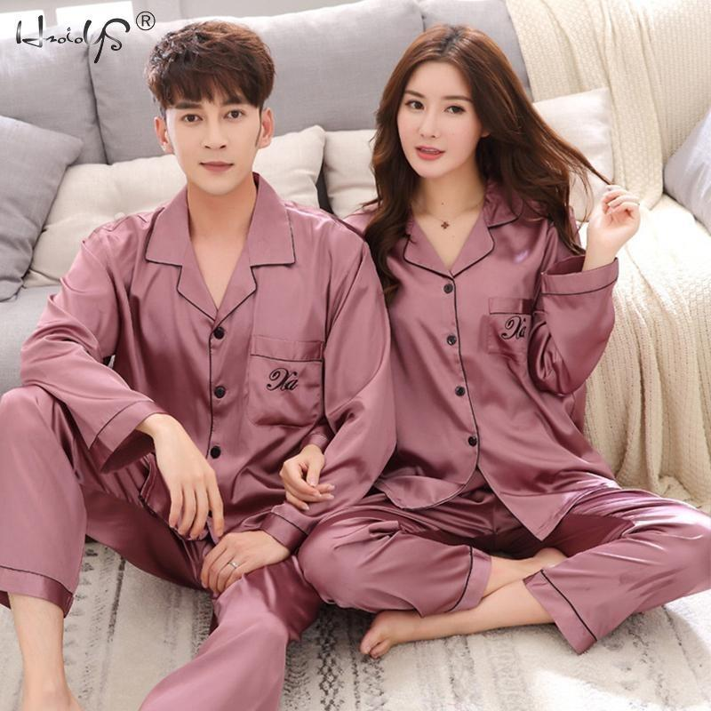 Pigiama di lusso Stita Satin Seta Pigiama Set Pigiami Coppia Sleepwear Famiglia Pijama Lover Night Suit Uomo Donna Casual Home Abbigliamento 201125