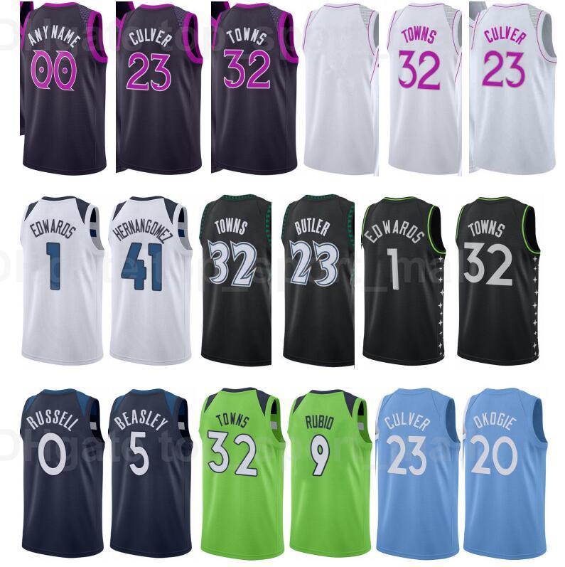 City Ganhou Edição Impresso Basquetebol Ricky Rubio Jersey 9 Josh Okogie 20 Naz Reid 11 Jake Layman 10 Jaden McDaniels Juancho Hernangomez
