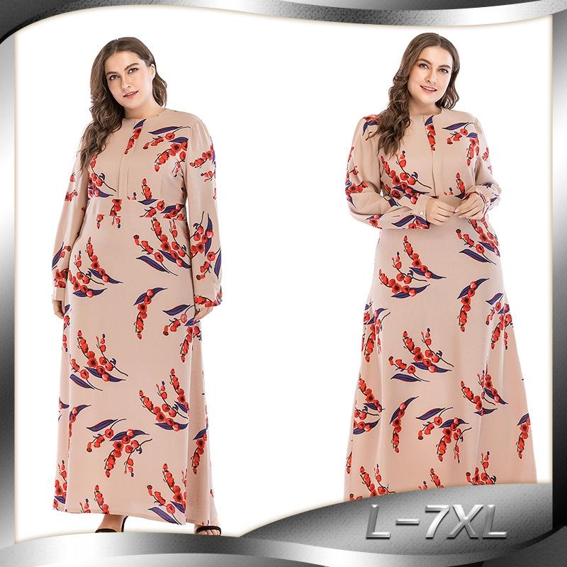 Imprimé à manches longues mince surdimensionné 9074 robe imprimée robe surdimensionné mince à manches longues 9074 Jf0MV