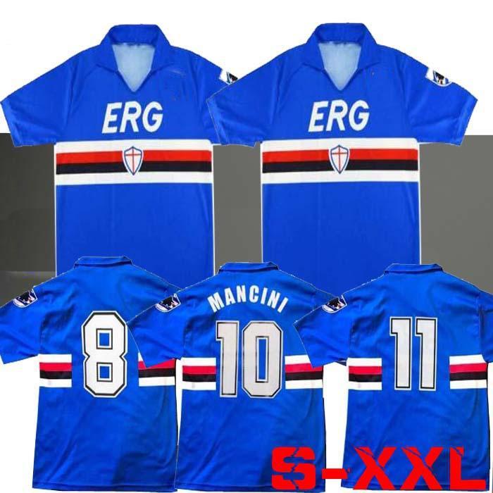 90 91 Sampdoria Mancini Vialli Home Soccer Jersey 1990 1991 Maglie da Calcio Sampdoria الرجعية خمر كلاسيكي لكرة القدم قميص مايلوت