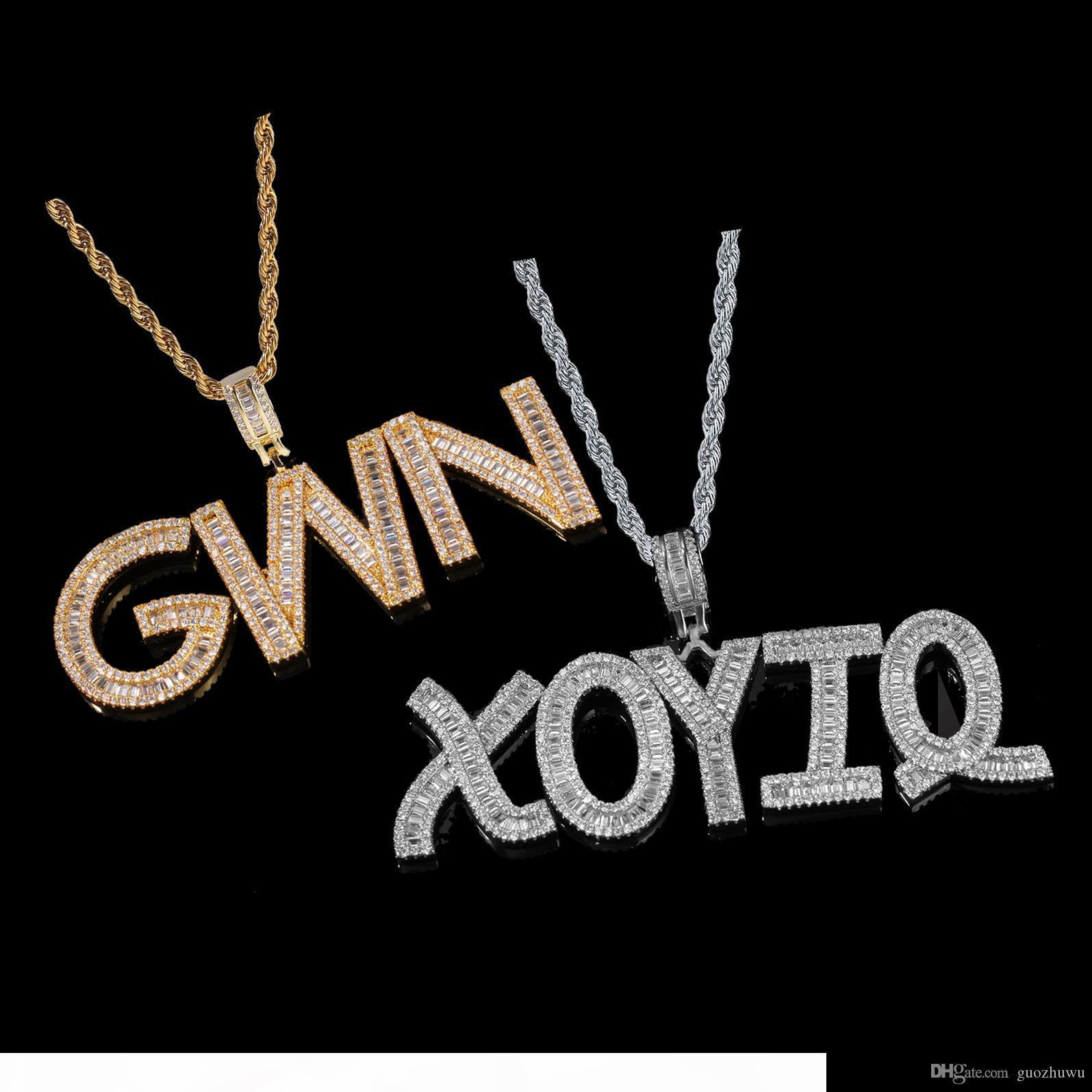 Nuovo personalizzati diamante di Bling A-Z iniziale Hip lettere ciondolo misura collana nome fuori ghiacciato CZ zircone oro Hop Rapper gioielli uomini donne