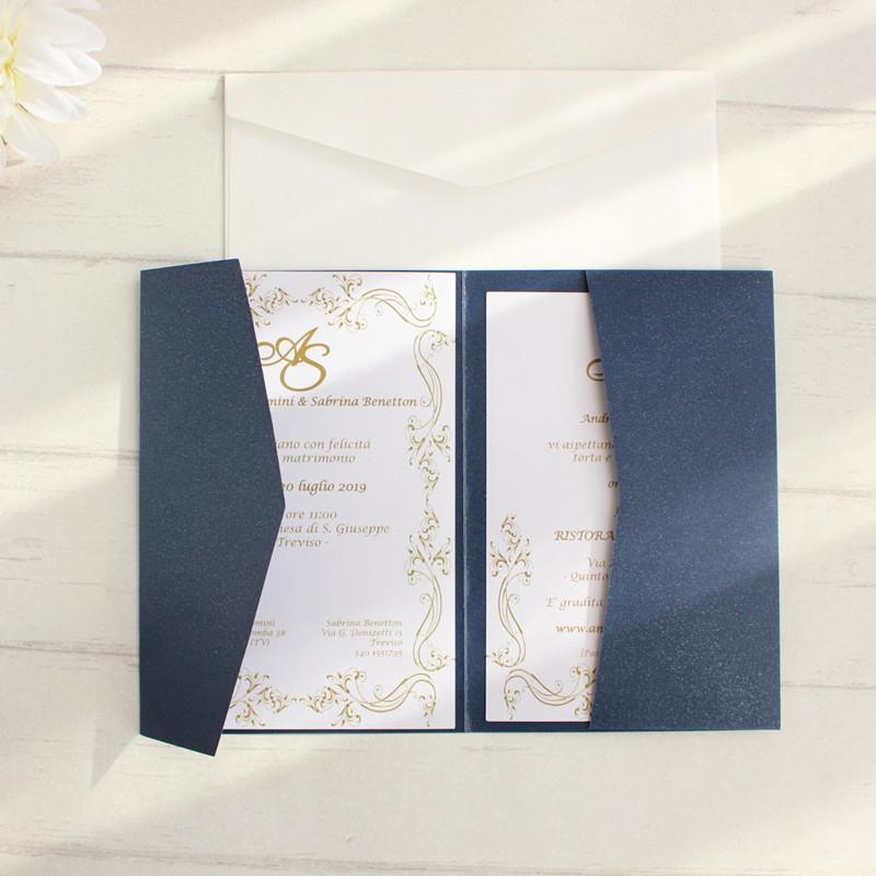 بطاقات مغلفات فارغة دعوات البحرية الأزرق جيب ثلاثي مطوية مجموعة الألوان عرض متعدد الألوان تقدم خدمة مخصصة T200115