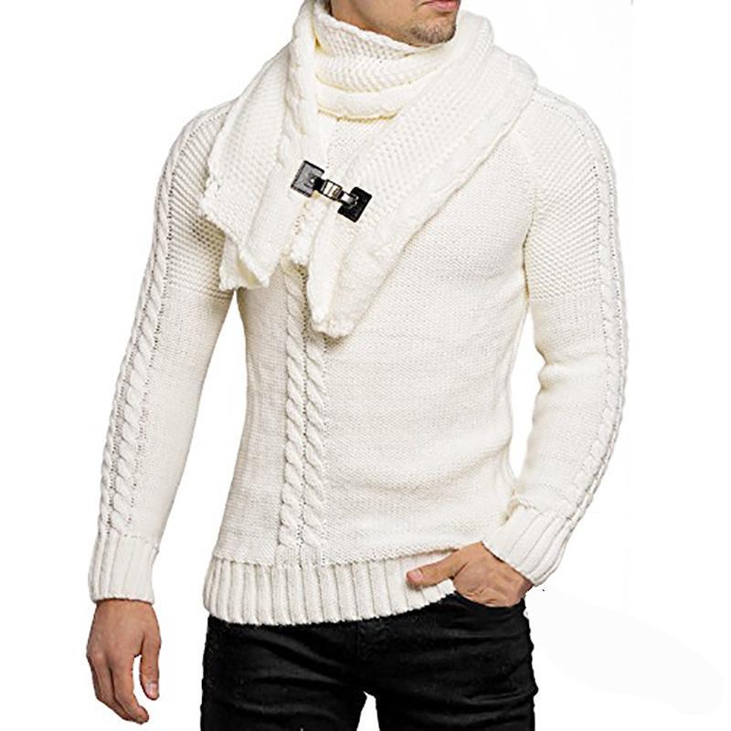 White gray brown black army green dark gray sweater European American fashion men's collar slim pullover knitted sweater men